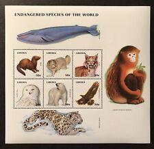 LIBERIA WILD ANIMALS STAMP SHEET 1999 MNH ENDANGERED SPECIES POLAR BEAR MONKEY