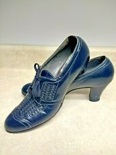 True Vintage 30's Shelby Navy Leather Lace Up Wing Tip Oxford Size 7 Shoes