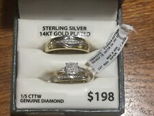 Forever Bride Trio Set Sterling Silver 14KT Gold Plated 1/5 CTTW Genuine Diamond