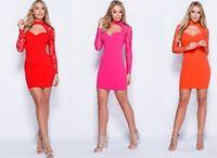 Womens Plunge Lace Choker Cut Out Front Bodycon Mini Dress UK Size 8-14