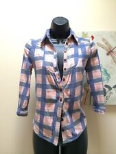 Kimchi blue by anthopologie flannel pink & blue plaid women's Sz S