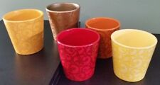 5 - Ceramic Pots In Various Colors - by Accents by Decowarps (Preowned)