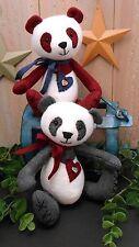 PATTERN Primitive Raggedy Panda Bear Doll #107 Cloth Sewing DIY Project Easy Art