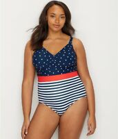 ModCloth POLKA DOT STRIPE Cleo One-Piece Swimsuit, US 3X