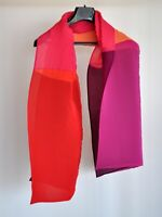 New Martine Boissy Plisse Pleated Double Layer Colorblock Pink Orange Red Scarf