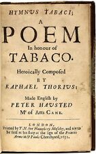 THORIUS, Raphael - Hymnus Tabaci: A Poem in Honour of Tabaco - 1651 - FIRST ED!