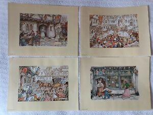 Art Reproduction Prints X 4 By Anton Pieck Job Lot 22.5cm X 15.5cm