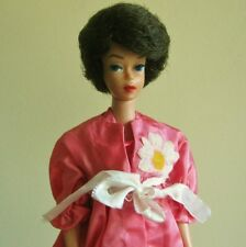 VINTAGE 1960'S HANDMADE BARBIE PINK TAFFETA DAISY DAISIES OUTFIT NIGHT GOWN COAT