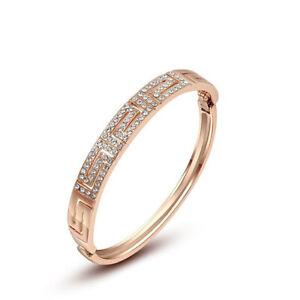 Starlight Gorgeous Shiny White Fire Topaz Rose Gold Plated Bangle Bracelets 17cm