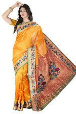 Golden  Embroidered Art Silk Paithani Saree with Blouse Bollywood Wedding Saree