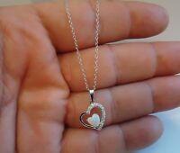 925 STERLING SILVER HEARTSHAPE NECKLACE PENDANT W/ .35 CT LAB DIAMOND/6MM OPAL