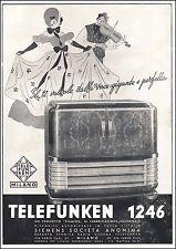 PUBBLICITA' 1940 RADIO TELEFUNKEN MODELLO 1296 12V BALLO DANZA MUSICA SIEMENS