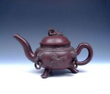 Antique Yi-Xing Zisha Clay Ancient Coin Monster LARGE Tripod Teapot Piggy Lid