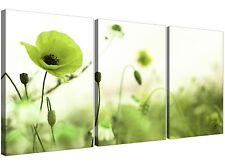 VERDE LIME Poppy Campo-Fiore Tela Multi 3 Panel - 125cm Wide