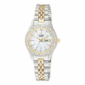 Citizen - Crystal Accent MOP Two-Tone Bracelet Women's Quartz Watch - EQ0534-50D