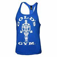 Golds Gym String Mens Tank Top Work Out Racerback (Large, Blue)