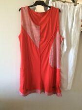 GORDON SMITH Orange / Red White Sleeveless Stretch Tunic Top Dress 18