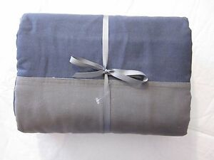 Restoration Hardware Teen Rugby Stripe Duvet Cover Twin Charcoal/Navy/Green New