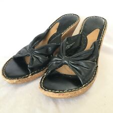 09c3a2daa Cherokee Womens Sandals Size 7.5 Black Leather Slip On Open Toe Wedge