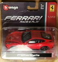 NEW Bburago 1/43 Ferrari F12 Berlinetta Red Diecast Car Model - DAMAGED BOX