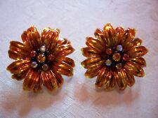 Design Clip Earrings Joan Rivers Orange Floral