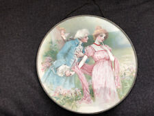 Gorgeous Chimney Flue Cover German Victorian Colonial Couple Round Glass Vintage
