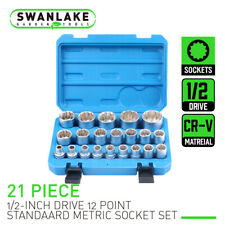 "21Pcs 1/2"" Drive 12 Point Universal Metric Spline Socket Set Cr-V steel 8mm-36mm"