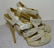 ALDO Sz 38 Wms 8 Stiletto Shoes Heels Strappy Gold Shimmer Glitter Elevated Toe
