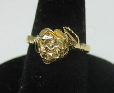 SIZE 4 14KT GOLD EP FLOWER, BABY,TOE, PINKIE, PROMISE RING