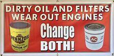 OIL CHANGE AC RETRO SIGN GAS STATION OLD SCHOOL REMAKE BANNER GARAGE ART 2 X 4