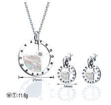 Stainless steel Necklace Pandoraes Pendant Earrings Shell Silvery Jewelry Sets