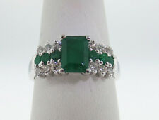 Natural (1.11TCW) Green Emeralds Diamonds Solid 14K White Gold Ring FREE Sizing