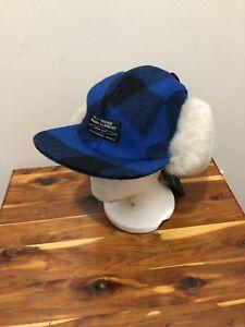 Filson Double Mackinaw Wool Cap Buffalo Blue Plaid Size Medium USA Made