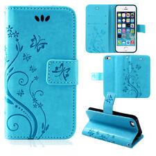 Pouch Mobile Phone Case Wallet Cases Flowers Flip Cover Book Case Blue ZTE Blade V7 Lite