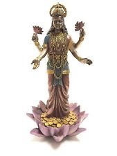 Lakshmi Hindu Goddess on Lotus Statue Sculpture Figurine