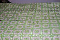 VINTAGE  White Green  Handmade Crocheted Blanket Coverlet Bedspread 106'' x 82''