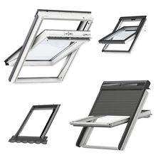 VELUX MK06 78x118 Kunststoff Schwingfenster mit Solar-Rollladen + Eindeckrahmen