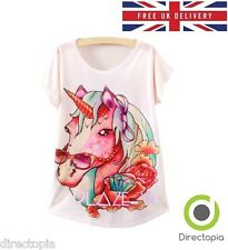 Harajuku Unicornio impresión T-SHIRT-SIZE UK 8-Kawaii Moda en punto UK