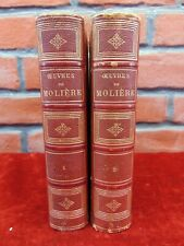 2V WORKS OF MOLIERE In French OEUVRES 1878 w/Color Portraits PARIS Leather NICE!