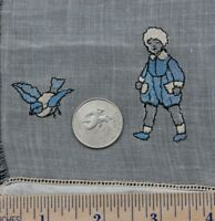 """Darling Antique Swiss Children's Embroidery With Bird c1920~17""""LX11""""W"""