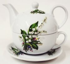 Lily of the Valley Tea For One Porcelain Lilies Teapot Cup Saucer Hand Decor UK