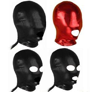 Black, Red PVC Wet Look Full Head Hood, Fetish Party Restraint Mask Blind Fold