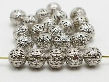 200 Dull Silver Metal Round Filigree Spacer Beads 6mm Jewelry Findings