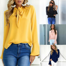 UK Womens Long Sleeve Casual Loose Blouse Top Ladies Fashion T Shirts Tee Tops
