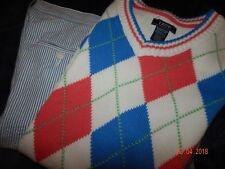 NWT Izod Boys 18-20 Seersucker Pants Argyle Sweater Outfit EASTER Spring NEW