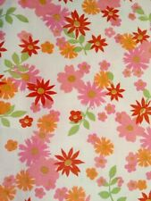 Vintage Sears Standard Twin Flat Sheet Floral Pink Orange Made in USA