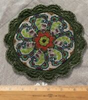 """Antique French Hand Beaded Christmas Red & Green 7"""" Round Mat"""