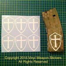 TEMPLAR CRUSADER CROSS  AR Magazine Sticker 6 Pack, AR, AK, Brand New, WHITE!