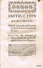 FACTUM MÉMOIRE JUDICIAIRE BÉZIERS hérault CABANEL SYNDIC VERS 1774