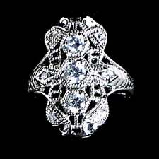 STUNNING_ANTIQUE STYLE BRILLIANT CZ RING SZ-10__925 STERLING SILVER